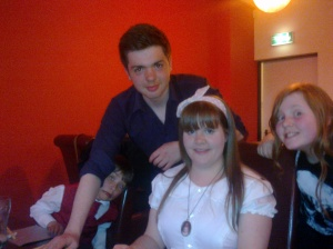 Me with my 15 year old nephew Charlie, Jessy and my niece Anais on her 10th birthday meal.
